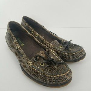 Sperry Top Sider Leather Boat Shoes Snake Print